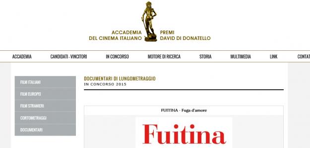 FUITINA in concorso al DAVIDI DI DONATELLO 2016